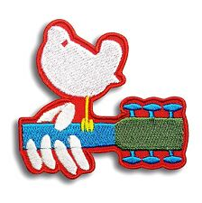 Red Woodstock Peace Music Festival Dove Embroidery Patch Iron On Applique Guitar