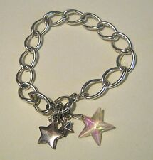 Gorgeous silver tone metal chain bracelet with silver tone metal star charms