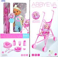 KIDS My First Dolls Pram Buggy Pushchair & Baby Doll Stroller Set ABBY FOR GIRLS