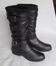 NEW Lotus Ladies Black Calf High Wedge Biker Style Boots Size 5