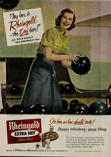 1956 Miss Rheingold Extra Dry Larger Beer Women Bowling Vintage Print Ad 3162