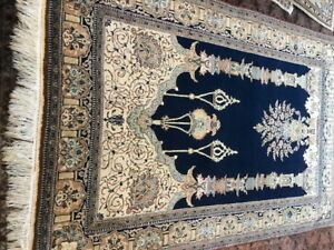 Semi Antique PersianQom Hand made rug  202x137cm / 6.8x4.5