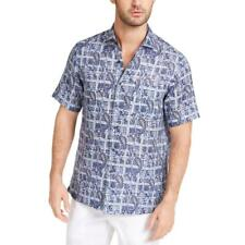 Tasso Elba para Hombre Lino Impreso camisa abotonada informales BHFO 6354