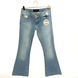 JUICY COUTURE 27 Flare Jeans Patches Distressed Light Wash Made in USA