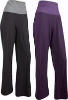 Womens Wide Legged Stretch Cotton Jersey Yoga Lounging Palazzo Trousers Pants