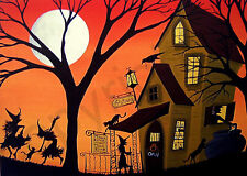 Halloween witch Potion Shop black cat folk art ACEO print of painting crow DC