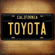 Toyota California Aluminum Vanity License Plate Black
