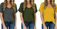Women's V-Neck Short Sleeve Top Casual Loose Shirt Plain COTTON Front Pocket Tee