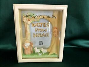 """RUSS BERRIE 3.5"""" X 5"""" SHADOWBOX BABY PICTURE FRAME - NOAH'S ARK"""