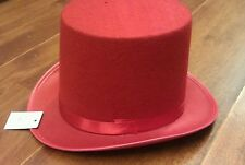 1 RED TOP HAT COSTUME MAGICIAN WEDDINGS ADULT DANCE MAD HATTER PARTY FORMAL