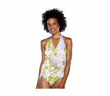 New ISAACMIZRAHILIVE! Carolina Floral Side Ruched Halter Swimsuit size 16  $135