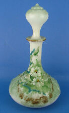 Antique Goofus Decorated Embossed Milk Glass Decanter