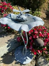 Lily Pad & Dragon Fly Springtime BirdBath Cast Aluminum