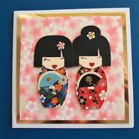 Greeting Card Handmade - Square Japanese Washi Card with Geisha Cuties