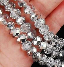 A Hot Faceted Crystal Beads  Crafts Glass Rondelle Jewelry Bicone Silver 8MM