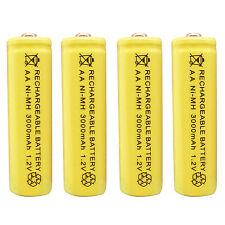 4 pcs AA 3000mAh Ni-MH 1.2V Rechargeable Battery Yellow For Toy RC Solar Light