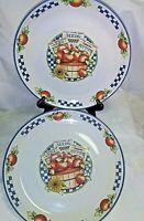 """Set of 2 International Tableworks Appletime 1995 Dinner Plate 11"""" Stoneware"""