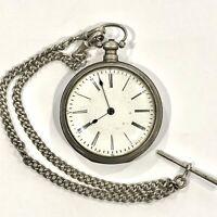 Antique White Metal Key Wound & Set Open Face Pocket Watch Mid 1800's Duplex