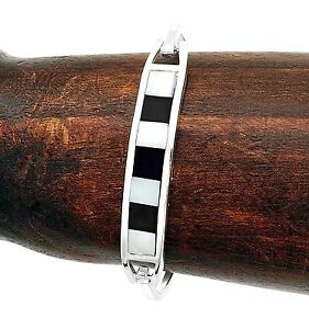 Silver Inlaid Mother of Pearl and Black Onyx Line Bracelet Jewelry Taxco Mexico