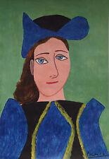 Classic Cubist gouache Painitng w COA, signed Pablo Picasso, Rare uniqe artwork