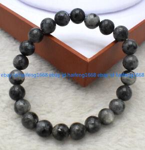 """Natürliche 6/8/10/12mm Schwarze Labradorit Edelstein Runde Perlen Armband 7.5"""""""