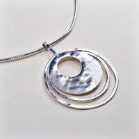 Silpada Necklace 925 Silver Hammered Circles 3 Ring Brutalist Omega Chain N1329
