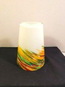 "Art Glass Rainbow Swirl Pendant Light Shade 7"""