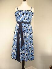 KALIKO Size 8 Fully Lined Blue & White Spotty Summer Dress