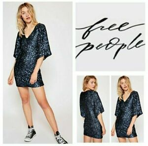 FREE PEOPLE  Party Girl Sequin Mini Dress Blue UK 8 US 4 NEW *small defect*