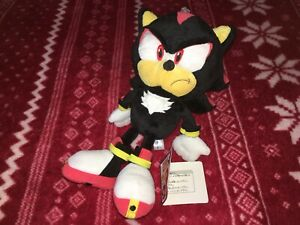 "Official Sanei 10"" SHADOW THE HEDGEHOG Sonic Plush Toy Doll 2012 M Japan TAGGED"