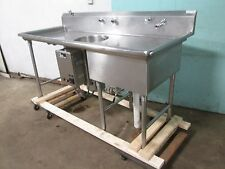 """COMMERCIAL HEAVY DUTY S.S. PREP SINK w/""""EMERSON IN-SINK-ERATOR"""" GARBAGE DISPOSER"""
