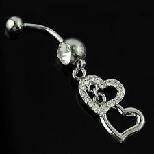 Elegant Lady Women Girl Love Heart Reverse Belly Navel Bar Ring Body Piercing