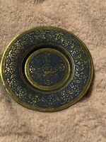 Vintage Kinco Brass Plate Ornate Small Flower Design w/ blue accent