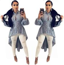 Woman Long Sleeve dress Stripes Printed Button Front Short Back Long dress S-3XL