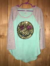 So Authentic Girls Green & Gray Top w Sequined Smiley Face Size 10