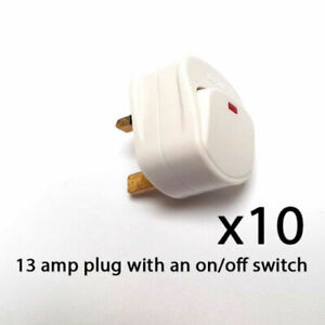 Mains Plug Top Switched On/Off 13A Amp Fused With Neon White Packs Of 2, 5, 10