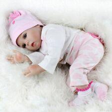 Reborn Baby Puppe 55cm Lebensecht Handgefertigt Weich Silikon-Vinyl Mädchen DE