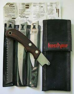 "Vintage ""KERSHAW"" KAI Camp Kit 3 Blade Survival Knife Set Cutlery Japan EUC !!!"