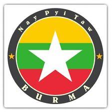 2 x Square Stickers 10 cm - Burma Nay Pyi Taw Burmese Flag  Cool Gift #5635