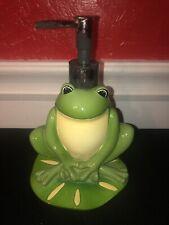 Vintage 1990's EFR Ceramic Frog Soap Pump Dispenser Bathroom Green Bath Sink