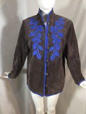 Linea by Louis Dell'Olio Women Brown Gray Suede Jacket  Blue Applique Sz S