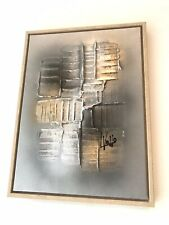 Ex Display Art Canvas Painting Original Abstract Grey Gold Silver Wooden Frame