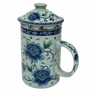 Porcelain Chinese Tea Mug with Infuser and Lid - Blue Peony Pattern