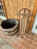 Antique Rustic Primitive Sled Snow Sleigh Wood + Metal Runners