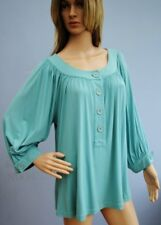 Long Tall Sally Blue Jersey Stretch Blouse Top Size 14