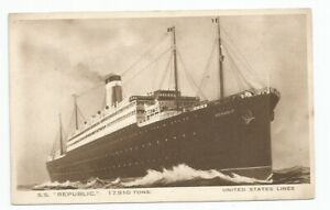 """United States Lines """"S.S.Republic"""" Cruise Liner Postcard"""