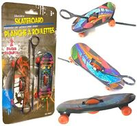 Pack of 2 Mini Plastic Type Toy Skate Ripcord Skateboards Toys Gift for Kids Fun