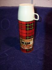 Vintage 1964 Red Plaid Tartan Metal Thermos Bottle #2242 King-Seeley