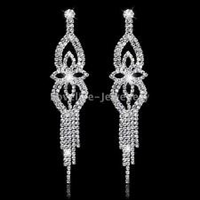 Bridal Flower Tassel Long Drop Earrings Shiny Rhinestone Crystal Wedding Jewelry