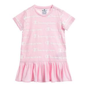 Champion Enfants Vêtements Robe Fille Enfant Rose Blanc Logo Sporty Mode Été